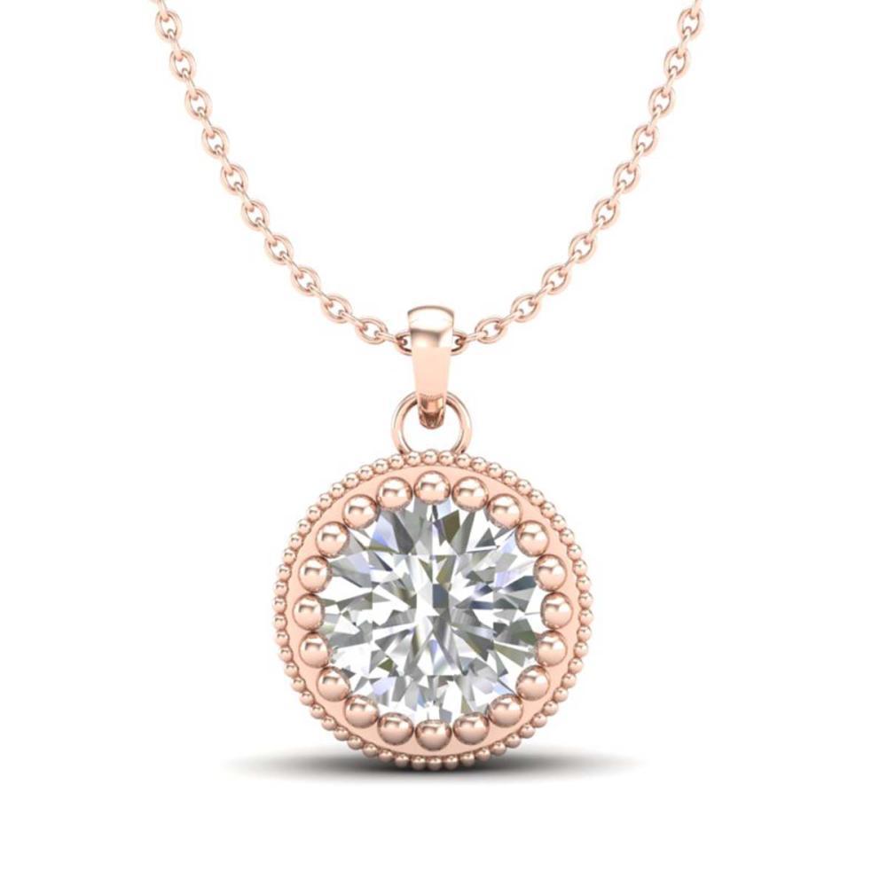 1 ctw VS/SI Diamond Solitaire Art Deco Necklace 18K Rose Gold - REF-292F5N - SKU:36891