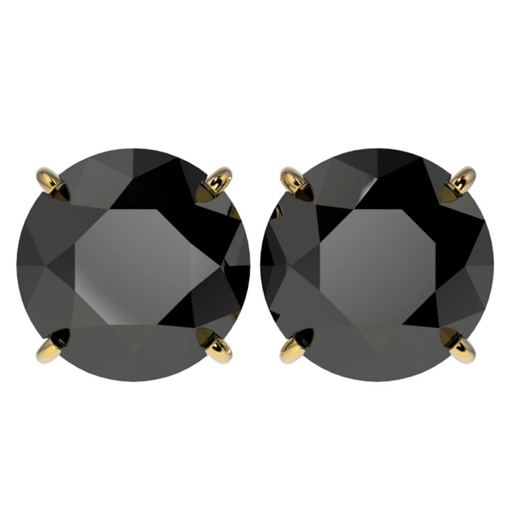 5.15 ctw Fancy Black Diamond Solitaire Stud Earrings 10K Yellow Gold - REF-120V2Y - SKU:36716