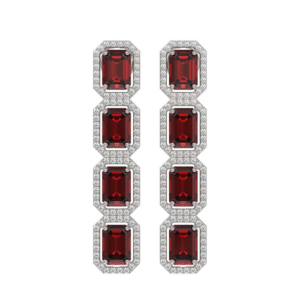 12.73 ctw Garnet & Diamond Halo Earrings 10K White Gold - REF-169Y3X - SKU:41471