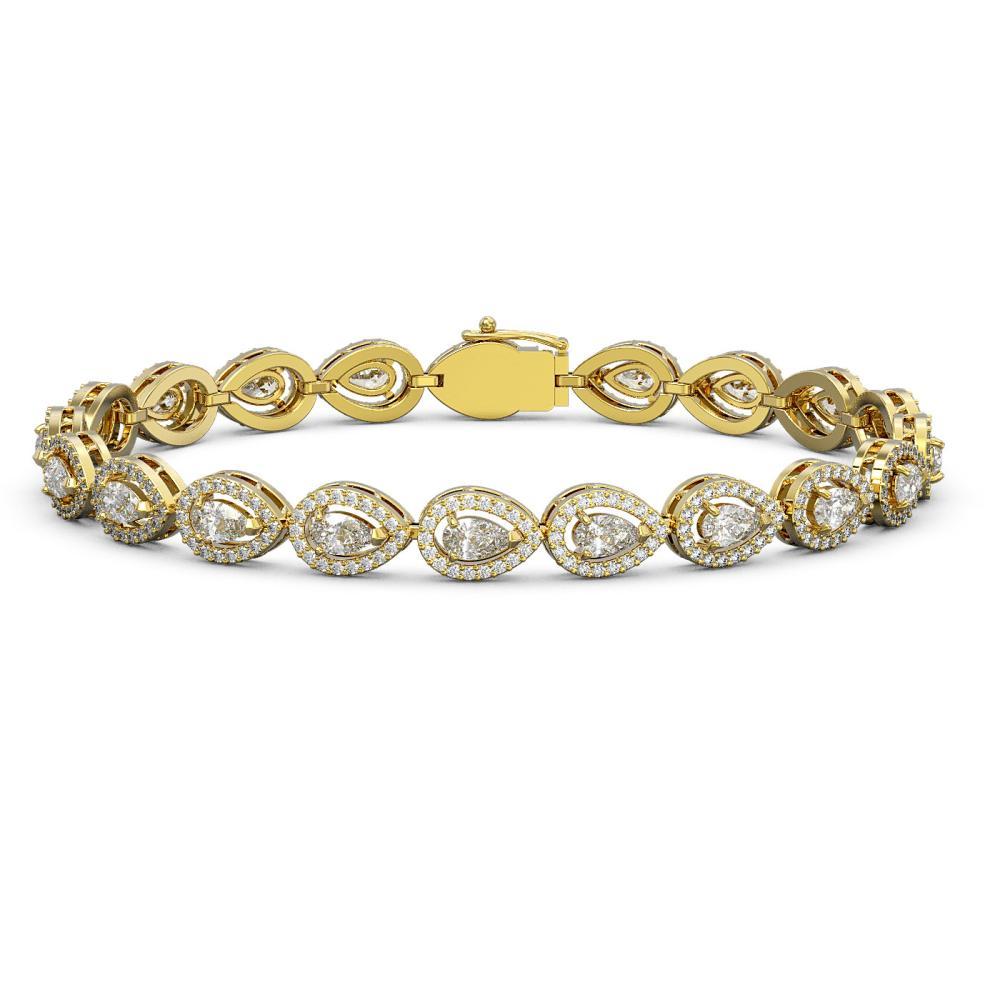 8.58 ctw Pear Diamond Bracelet 18K Yellow Gold - REF-723F2N - SKU:43042
