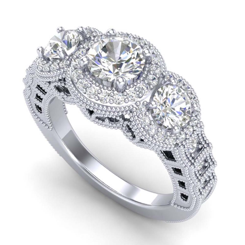 2.16 ctw VS/SI Diamond Solitaire Art Deco 3 Stone Ring 18K White Gold - REF-361A8V - SKU:36968