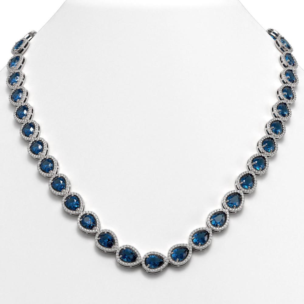 35.13 ctw London Topaz & Diamond Halo Necklace 10K White Gold - REF-602A7V - SKU:41078