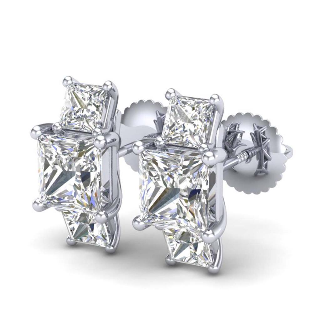 3.08 ctw Princess VS/SI Diamond Art Deco Stud Earrings 18K White Gold - REF-668F2N - SKU:37199