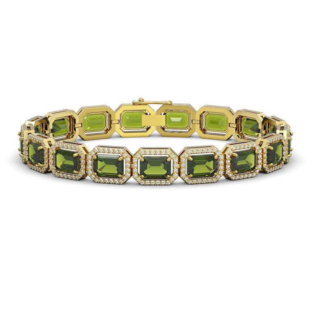 26.38 ctw Tourmaline & Diamond Halo Bracelet 10K Yellow Gold - REF-411W3H - SKU:41401