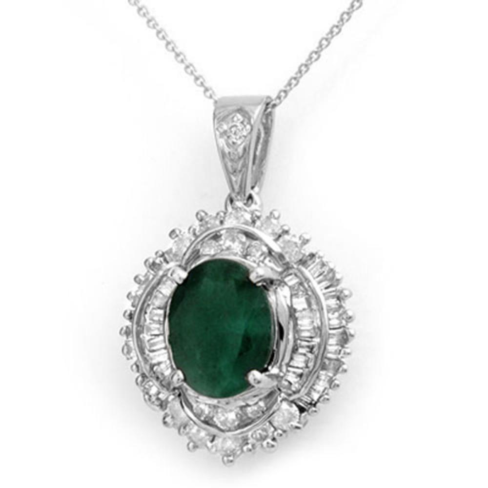 5.35 ctw Emerald & Diamond Pendant 18K White Gold - REF-178M2F - SKU:13009