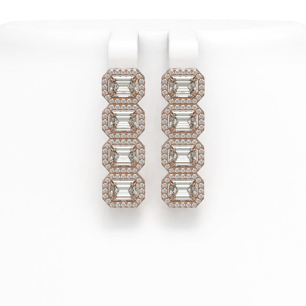 5.92 ctw Emerald Diamond Earrings 18K Rose Gold - REF-944F7N - SKU:42846