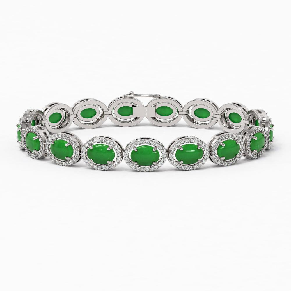21.78 ctw Jade & Diamond Halo Bracelet 10K White Gold - REF-250R9K - SKU:46019