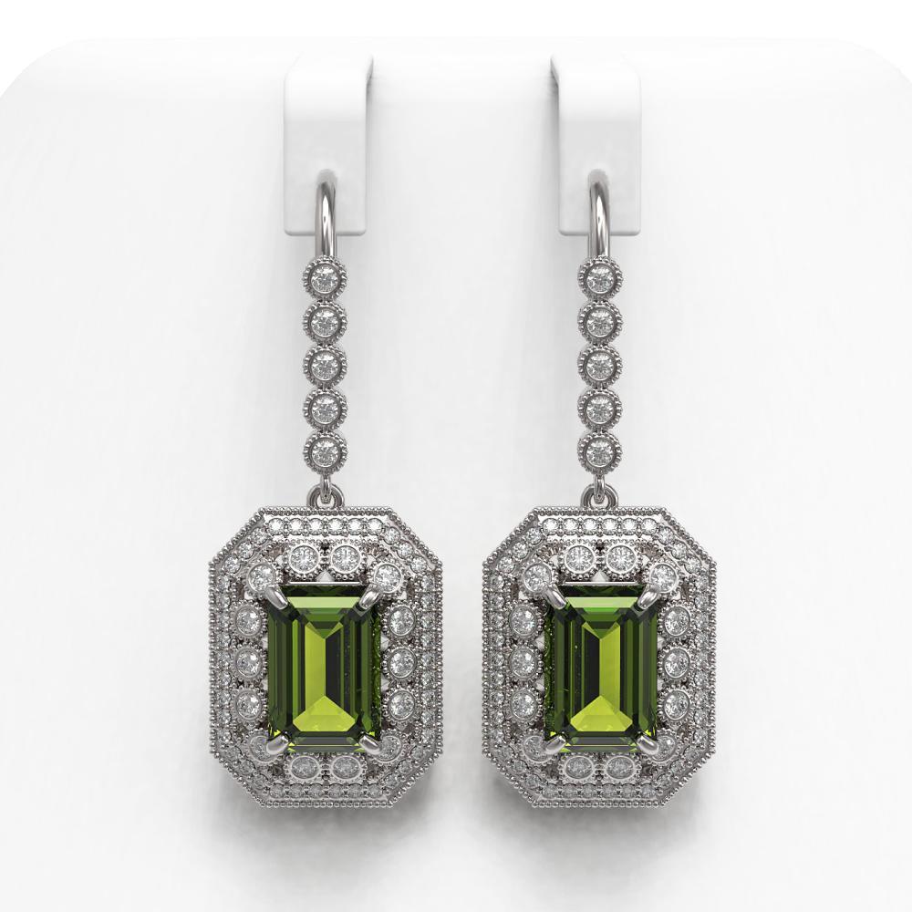 13.4 ctw Tourmaline & Diamond Earrings 14K White Gold - REF-375Y3X - SKU:43406