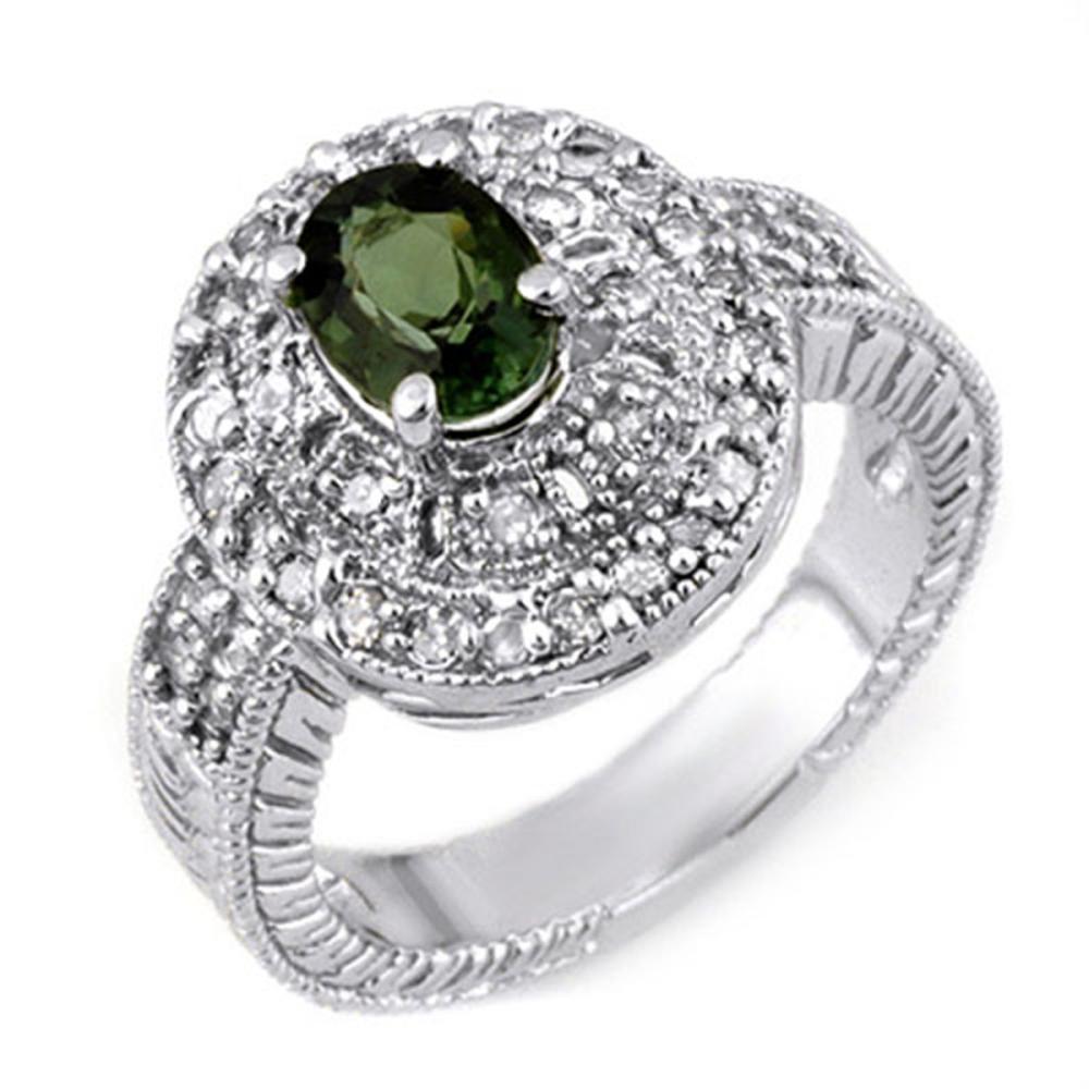 1.73 ctw Green Tourmaline & Diamond Ring 14K White Gold - REF-83M6F - SKU:11131