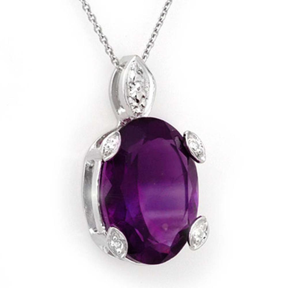 10.10 ctw Amethyst & Diamond Necklace 14K White Gold - REF-37X3R - SKU:10561
