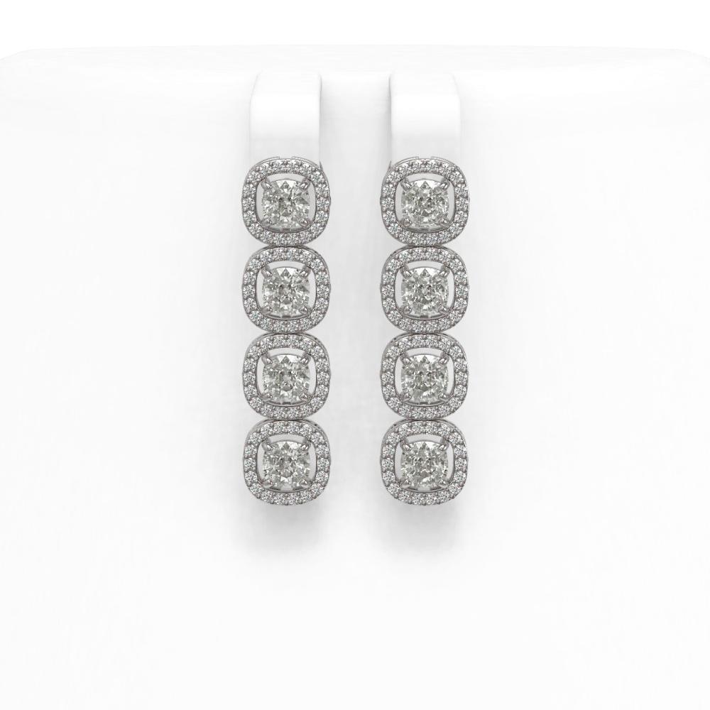 4.52 ctw Cushion Diamond Earrings 18K White Gold - REF-384F5N - SKU:43025