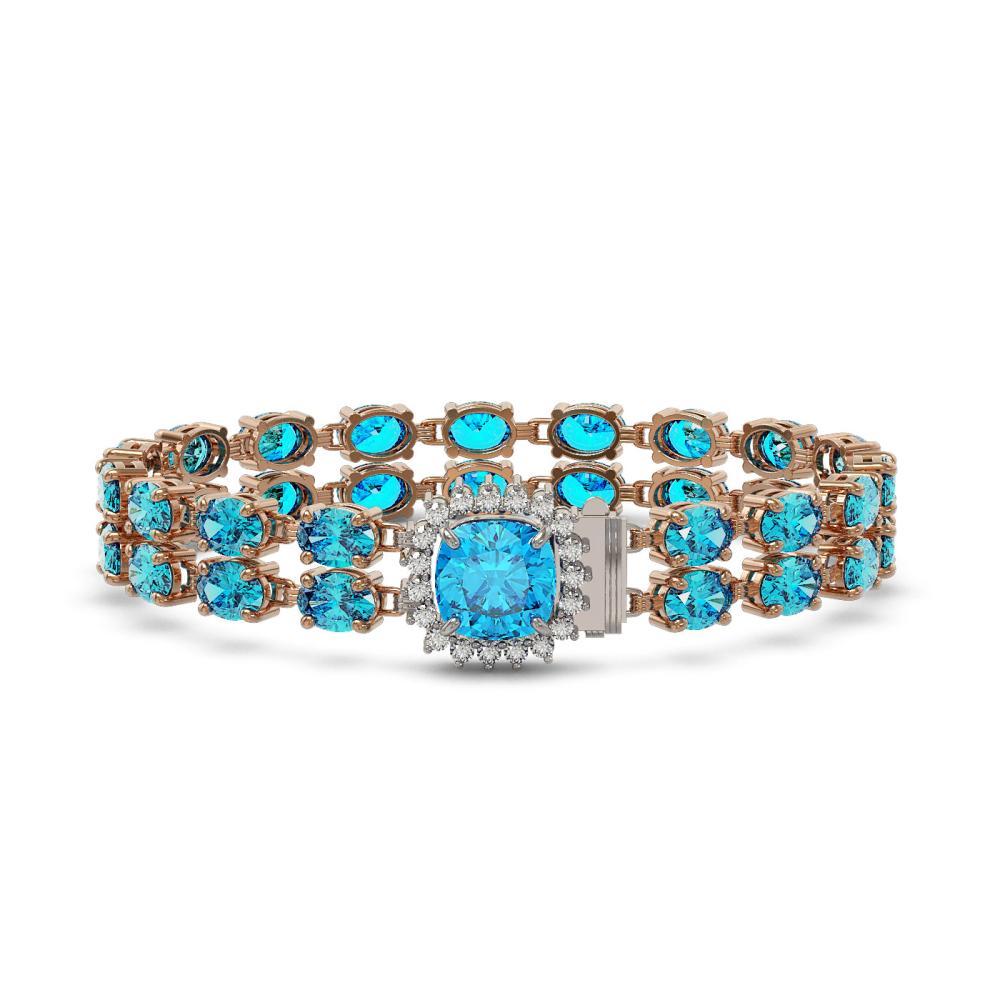 17.67 ctw Swiss Topaz & Diamond Bracelet 14K Rose Gold - REF-172H4M - SKU:45627