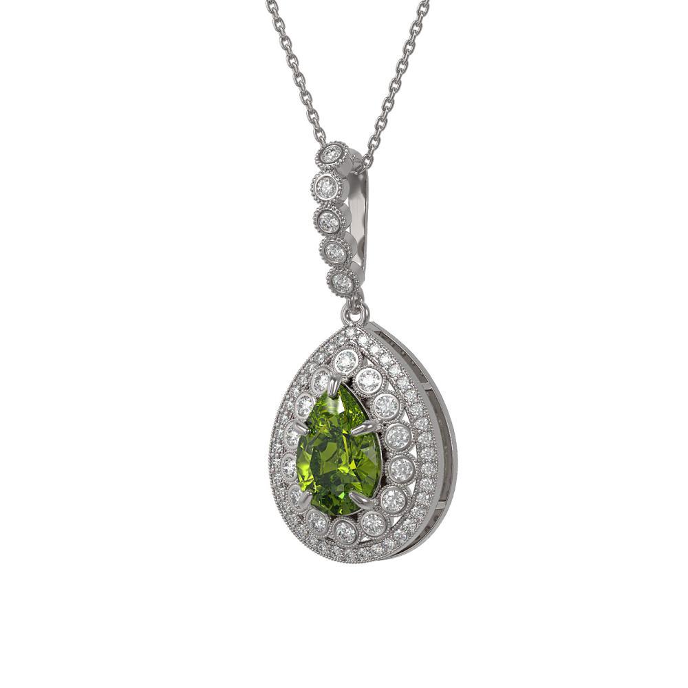 4.97 ctw Tourmaline & Diamond Necklace 14K White Gold - REF-164Y2X - SKU:43220