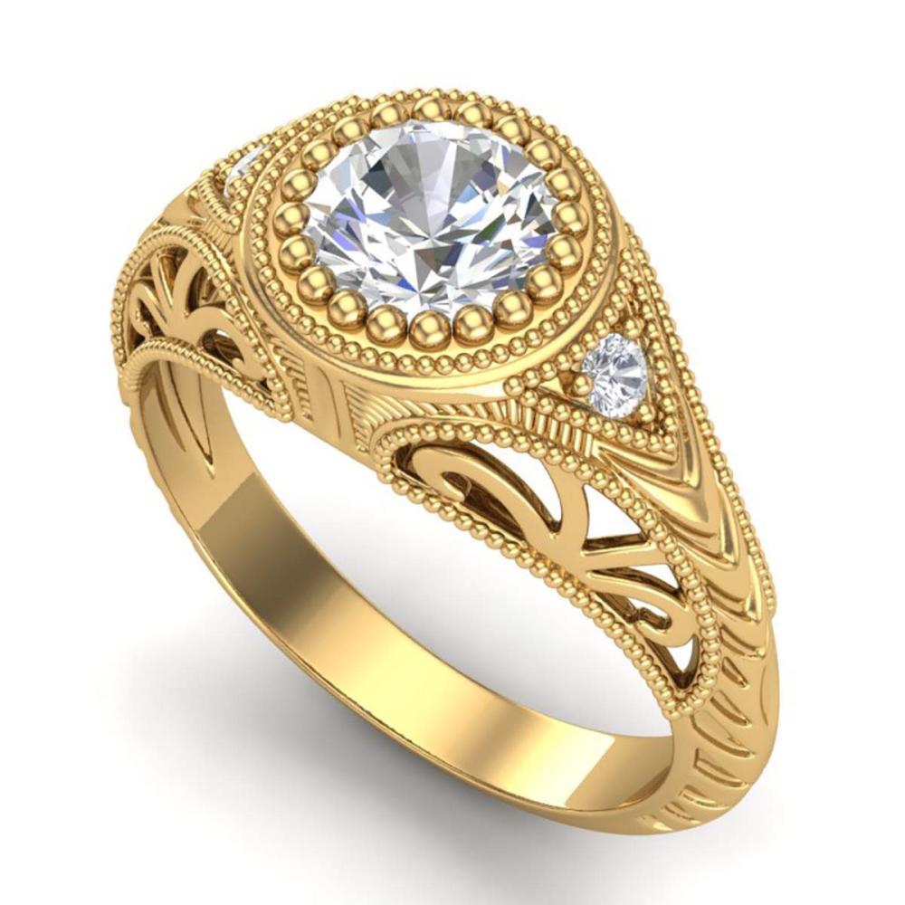 1.07 ctw VS/SI Diamond Art Deco Ring 18K Yellow Gold - REF-321Y2X - SKU:36886