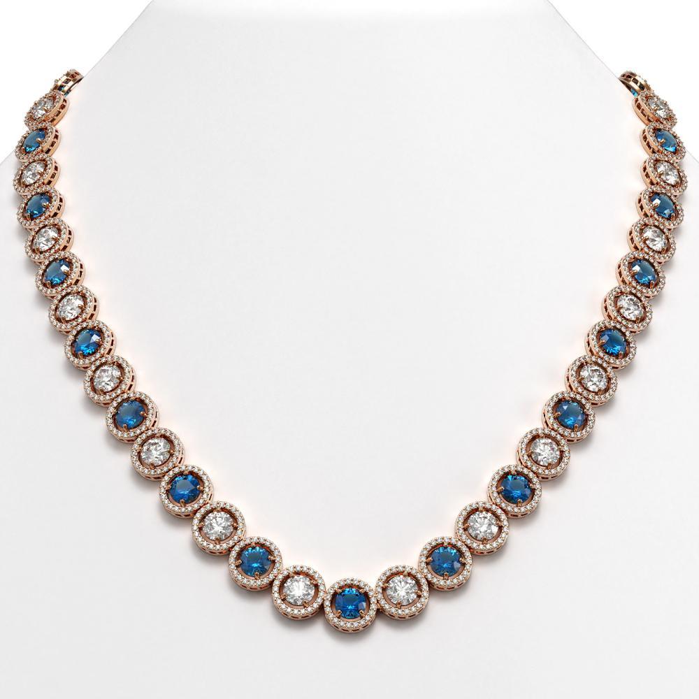 35.60 ctw Blue & Diamond Necklace 18K Rose Gold - REF-3302N7A - SKU:42678