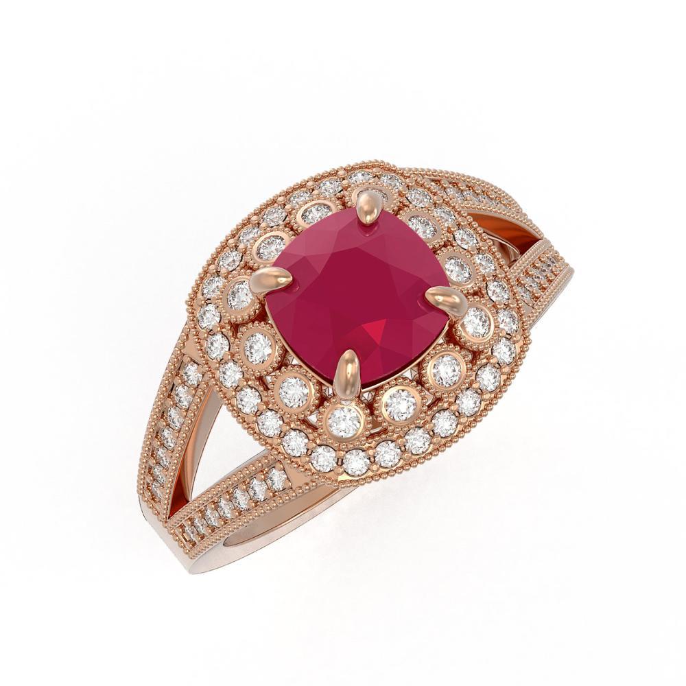 2.69 ctw Ruby & Diamond Ring 14K Rose Gold - REF-103N3A - SKU:44028