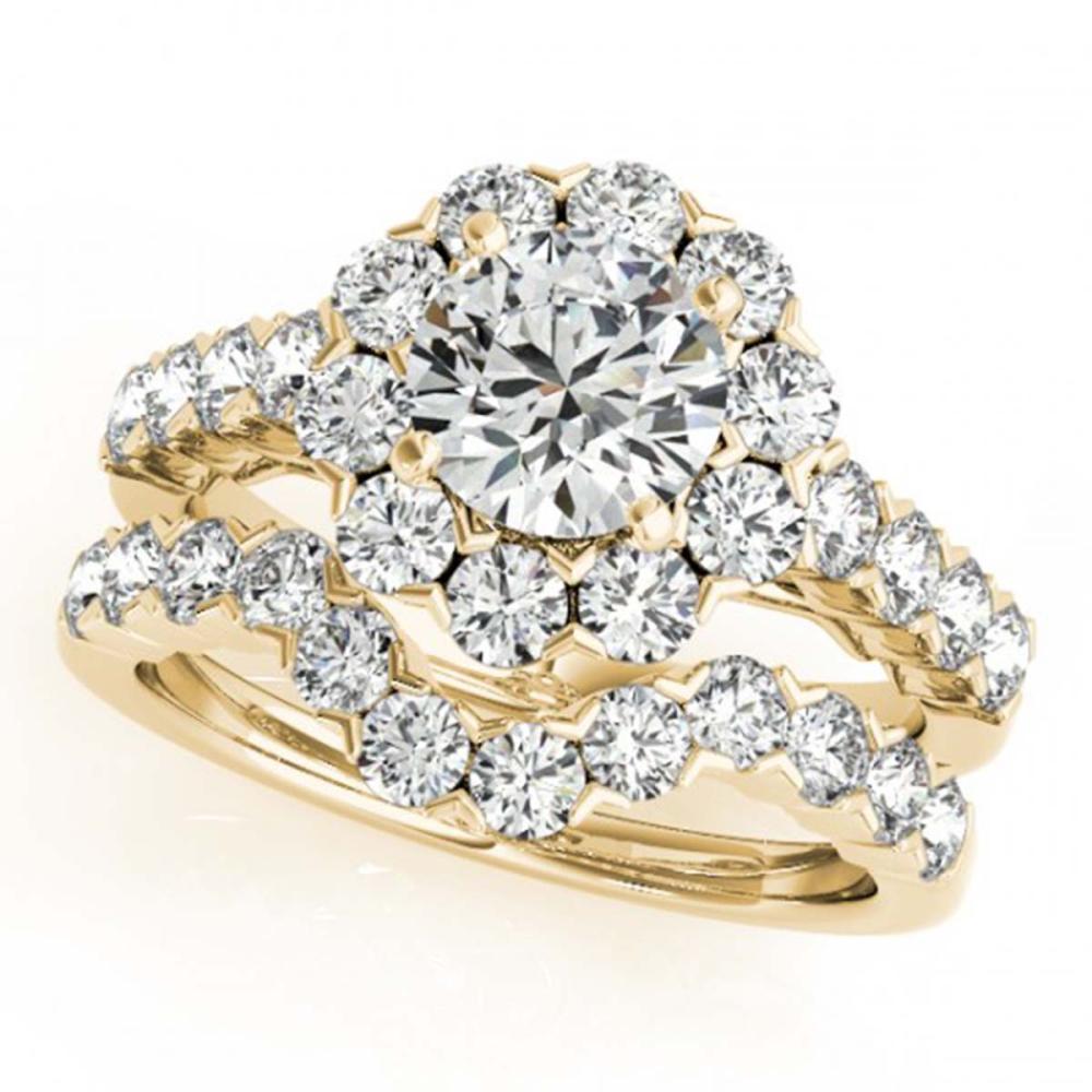 4.01 ctw VS/SI Diamond 2pc Wedding Set Halo 14K Yellow Gold - REF-613H6M - SKU:30827
