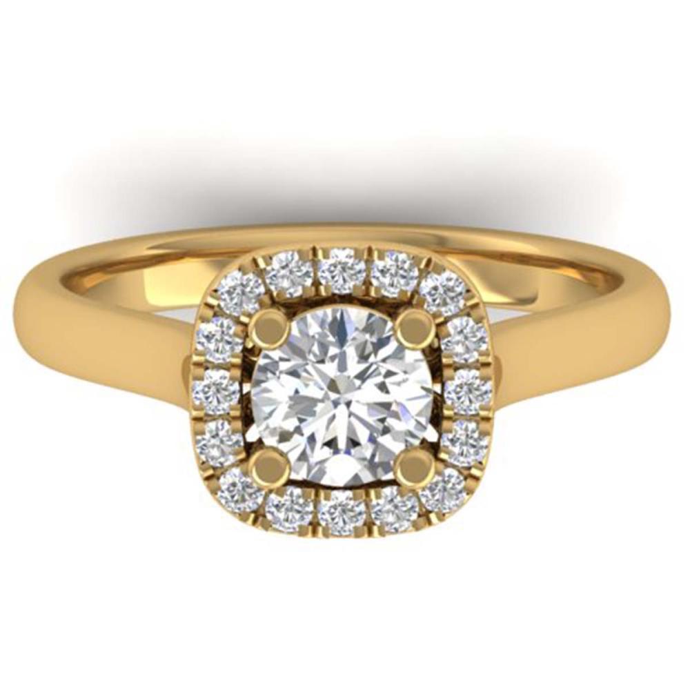 1.01 ctw VS/SI Diamond Solitaire Halo Ring 14K Yellow Gold - REF-182R9K - SKU:30419