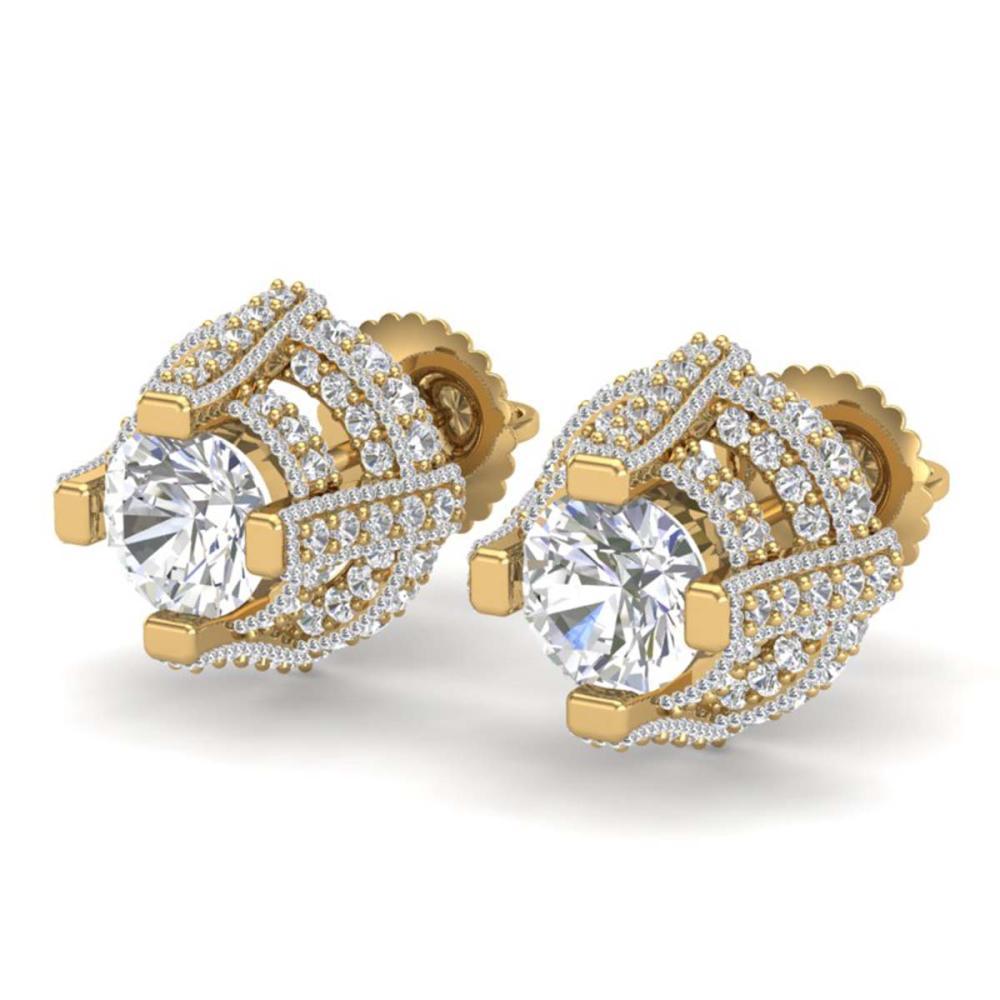 2.75 ctw VS/SI Diamond Stud Earrings 18K Yellow Gold - REF-320Y2X - SKU:36952
