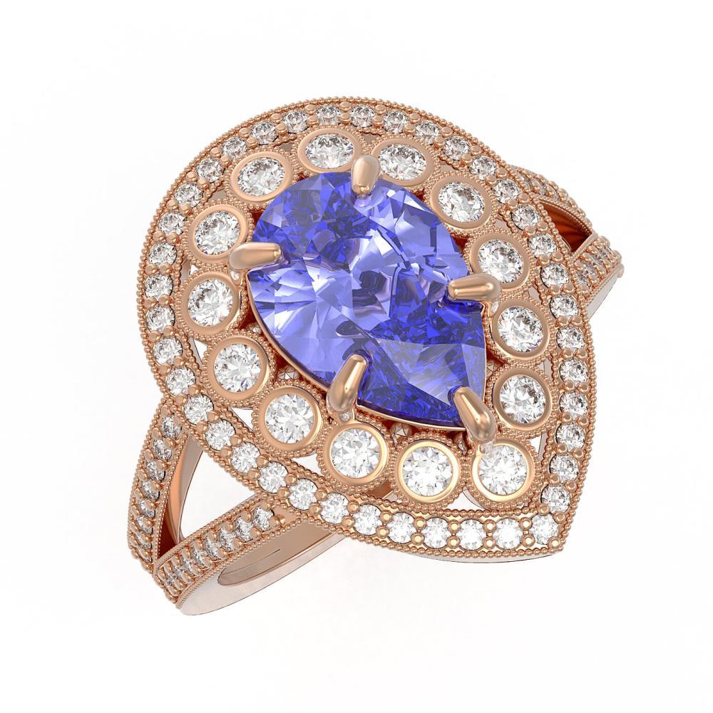 4.52 ctw Tanzanite & Diamond Ring 14K Rose Gold - REF-202R2K - SKU:43128