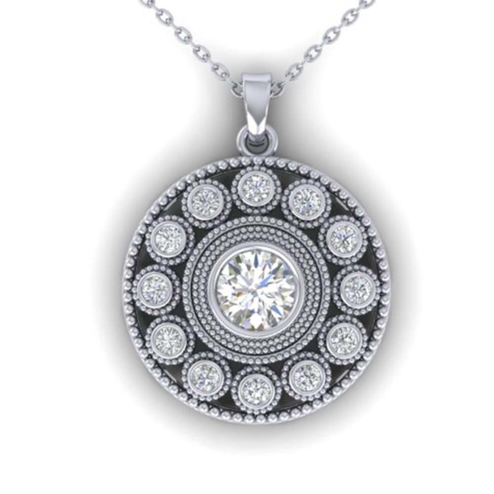 0.91 ctw VS/SI Diamond Art Deco Necklace 14K White Gold - REF-121K3W - SKU:30468