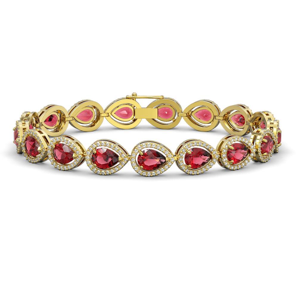 16.93 ctw Tourmaline & Diamond Halo Bracelet 10K Yellow Gold - REF-472W7H - SKU:41110