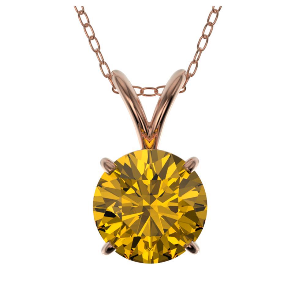 1 ctw Intense Yellow Diamond Necklace 10K Rose Gold - REF-202N5A - SKU:33191