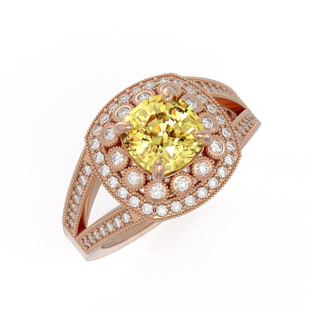 2.09 ctw Canary Citrine & Diamond Ring 14K Rose Gold - REF-94H9M - SKU:44040