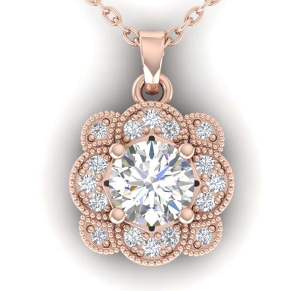 0.75 ctw I-SI Diamond Art Deco Necklace 14K Rose Gold - REF-104Y7X - SKU:30517