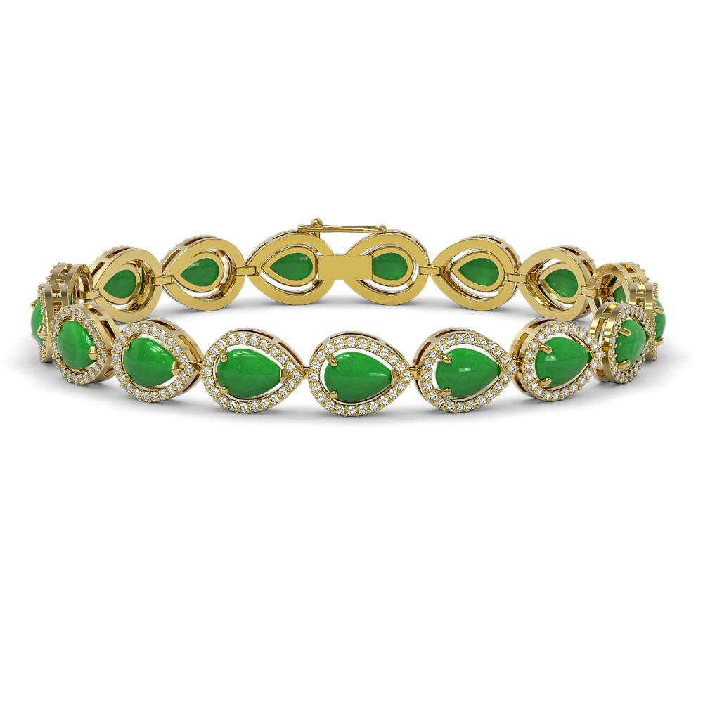 13.19 ctw Jade & Diamond Halo Bracelet 10K Yellow Gold - REF-305Y8X - SKU:46050