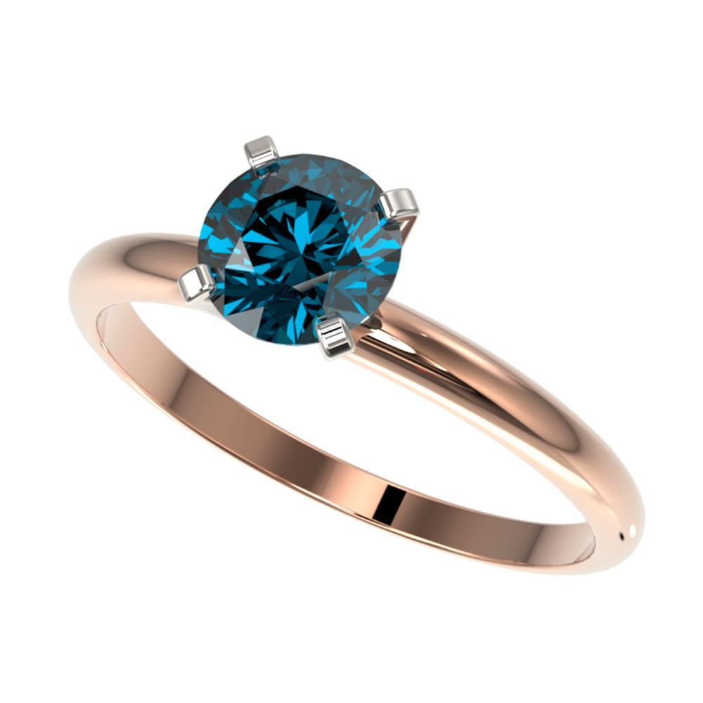 1 ctw Intense Blue Diamond Ring 10K Rose Gold - REF-112Y5X - SKU:32891