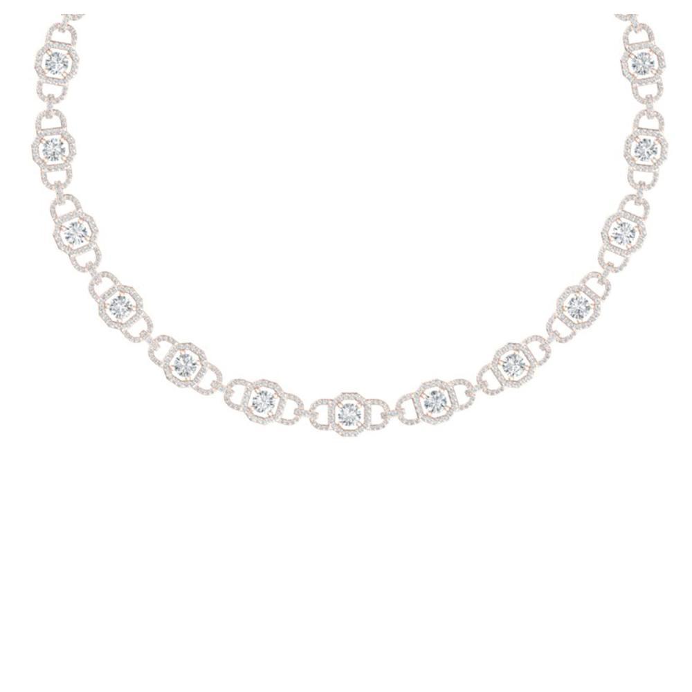 25 ctw SI/I Diamond Halo Necklace 18K Rose Gold - REF-2130Y2X - SKU:40122