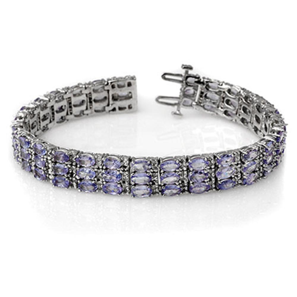 18.26 ctw Tanzanite & Diamond Bracelet 14K White Gold - REF-396Y9X - SKU:11656