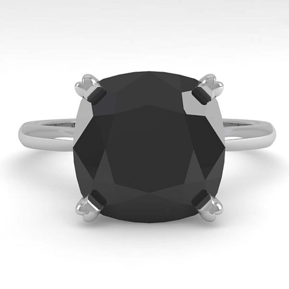 6.0 ctw Cushion Black Diamond Ring 18K White Gold - REF-133Y6X - SKU:32460