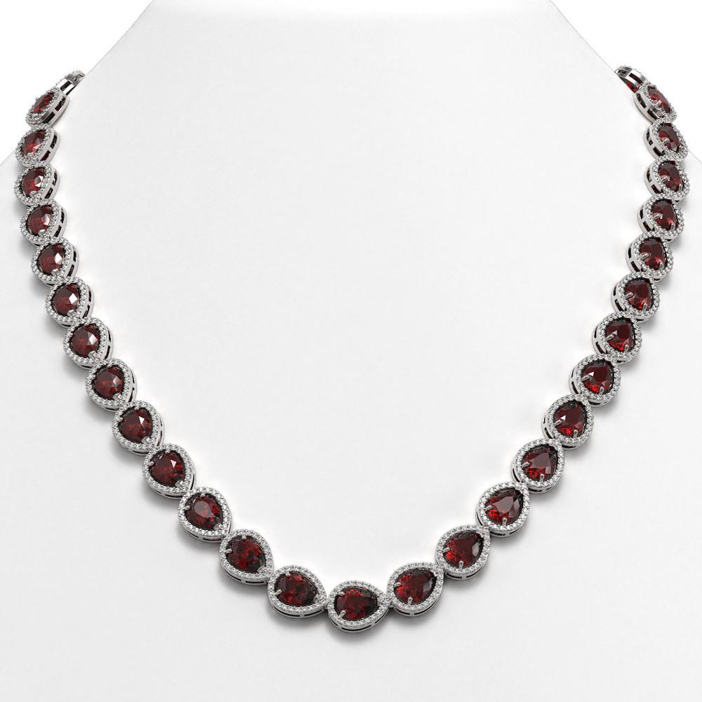 36.93 ctw Garnet & Diamond Halo Necklace 10K White Gold - REF-582N7A - SKU:41087