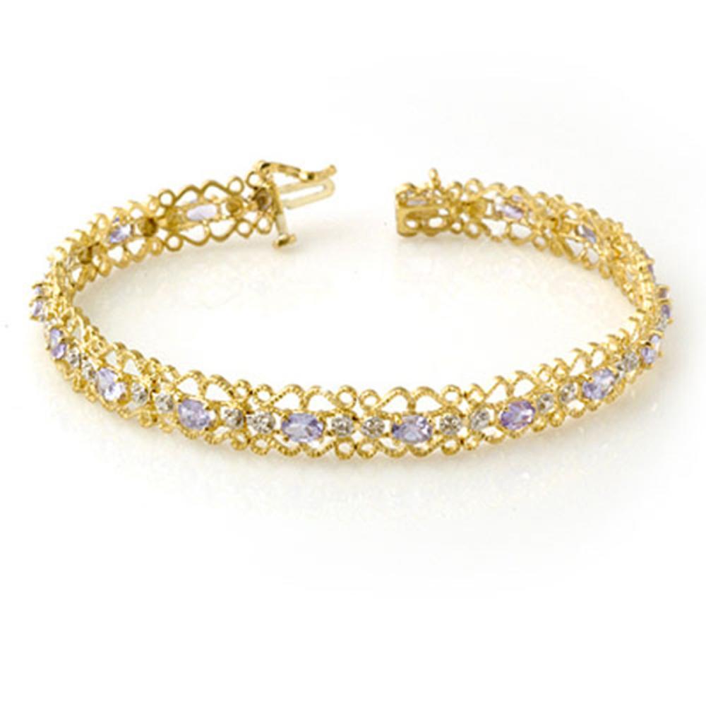 2.82 ctw Tanzanite & Diamond Bracelet 10K Yellow Gold - REF-69N3A - SKU:14272