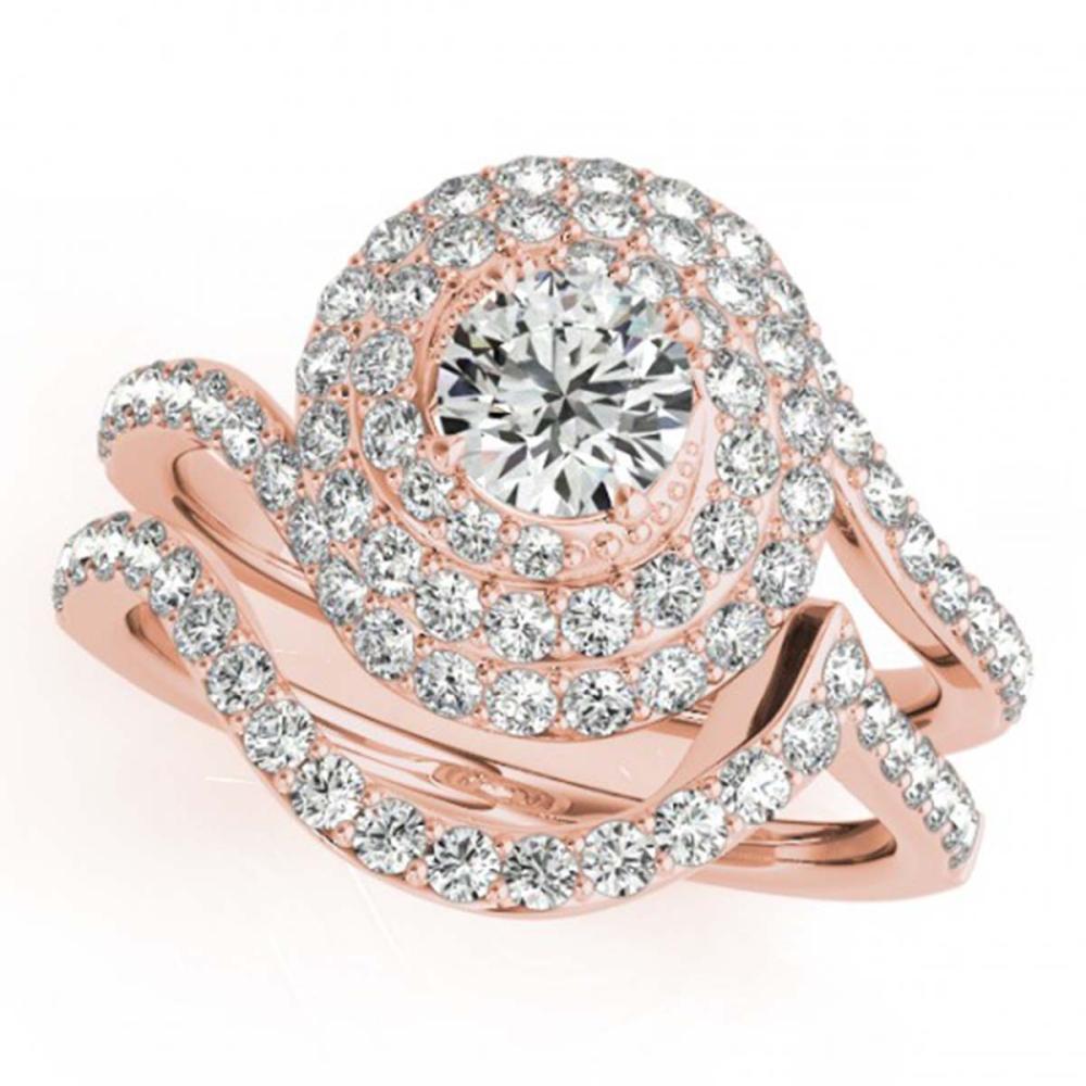 1.88 ctw VS/SI Diamond 2pc Wedding Set Halo 14K Rose Gold - REF-180F8N - SKU:31299