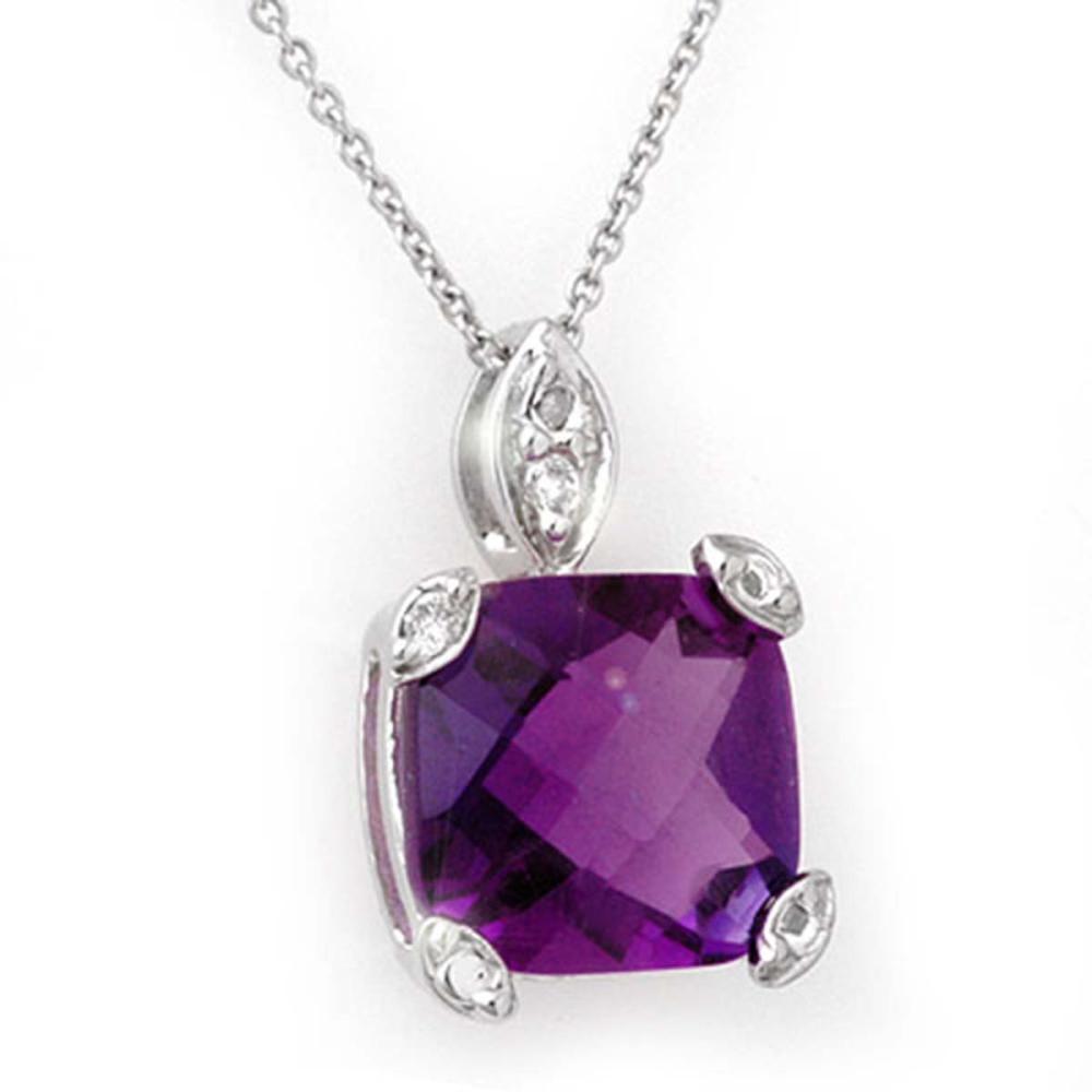 7.10 ctw Amethyst & Diamond Necklace 18K White Gold - REF-48N2A - SKU:11787