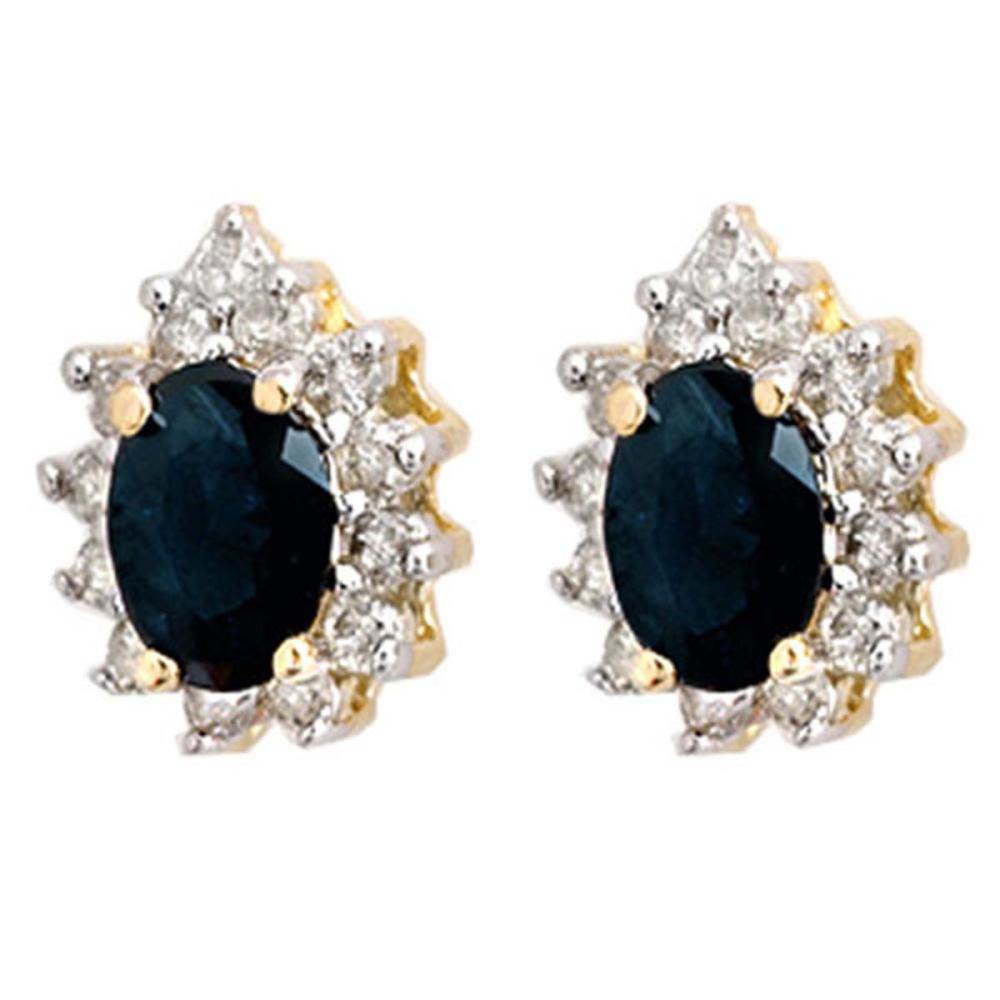 5.46 ctw Blue Sapphire & Diamond Earrings 14K Yellow Gold - REF-85Y3X - SKU:12873
