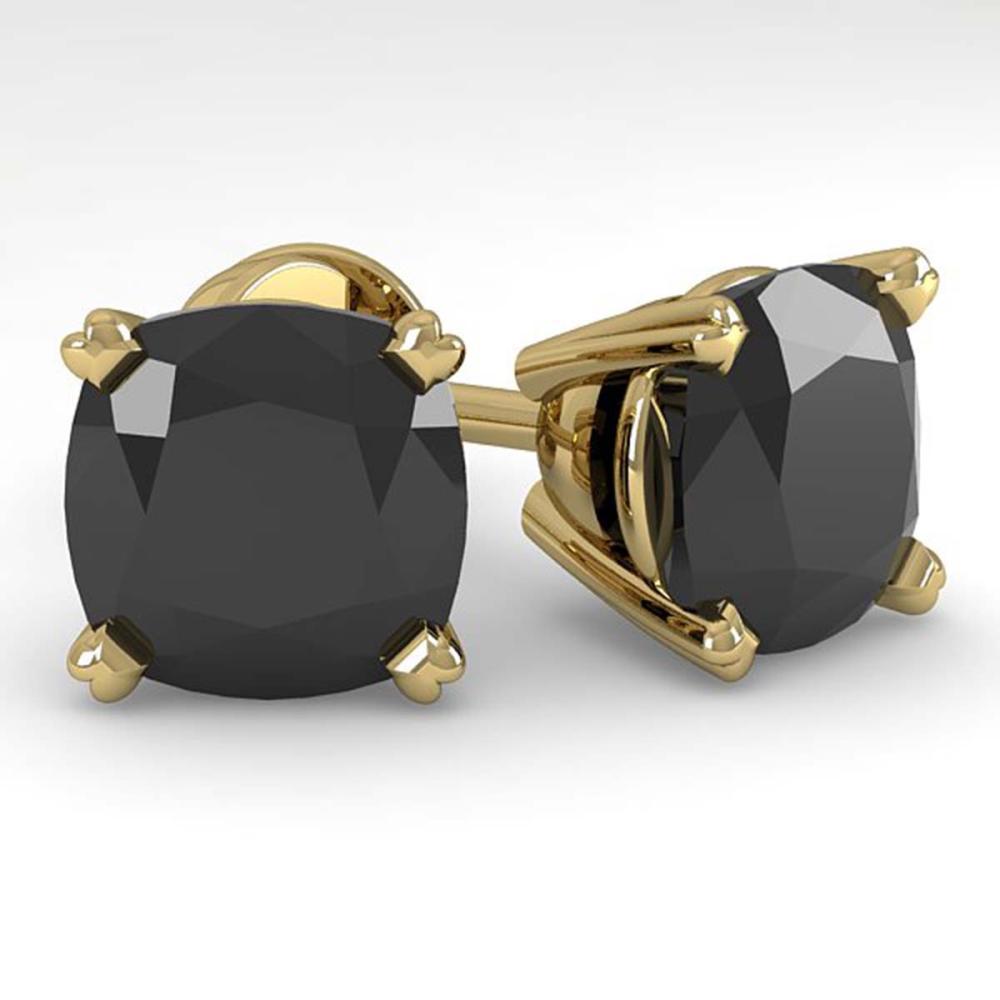 12 ctw Cushion Black Diamond Stud Earrings 14K Yellow Gold - REF-267R2K - SKU:38396