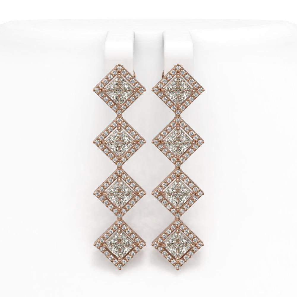 5.92 ctw Princess Diamond Earrings 18K Rose Gold - REF-821N2A - SKU:42855