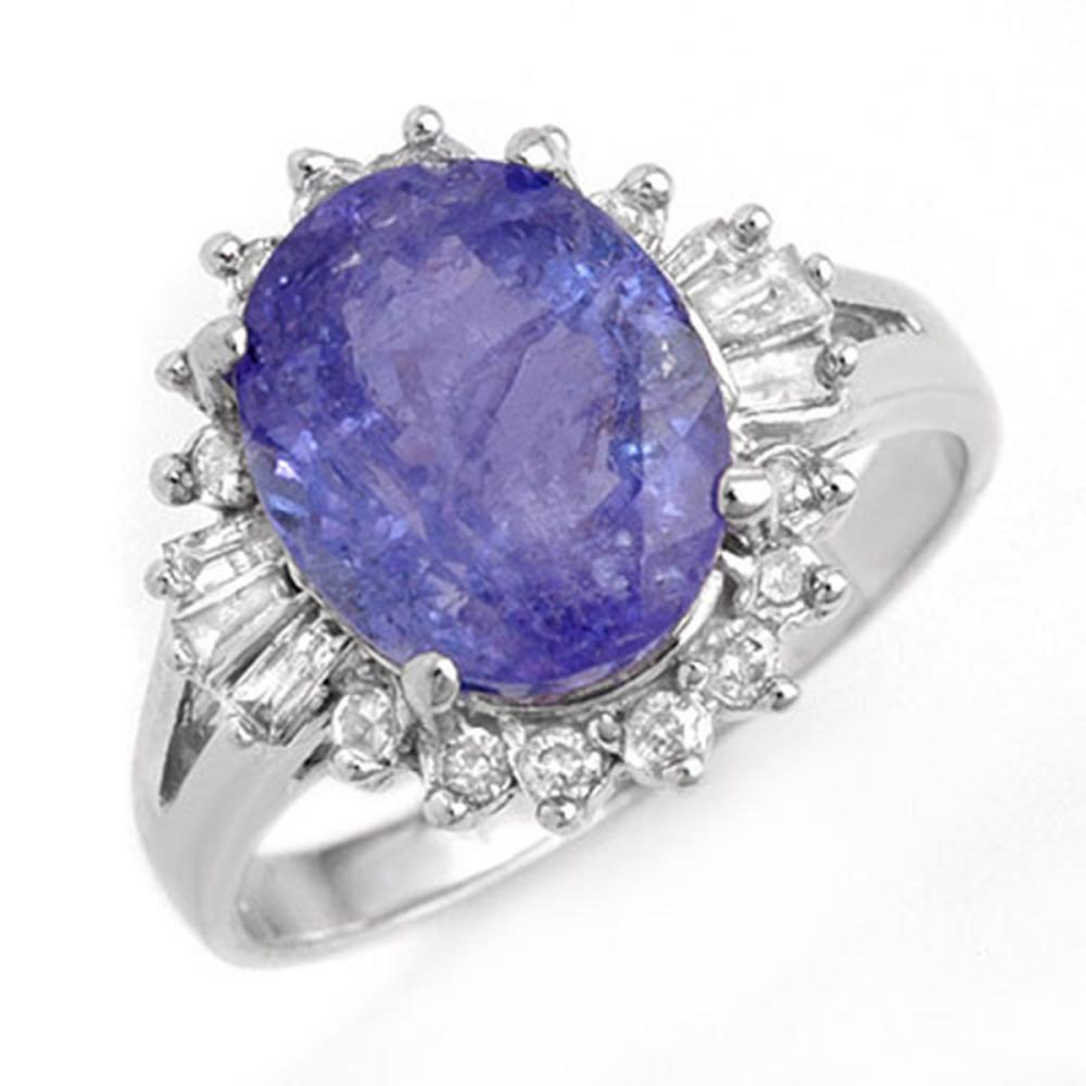 4.06 ctw Tanzanite & Diamond Ring 14K White Gold - REF-101M6F - SKU:14174