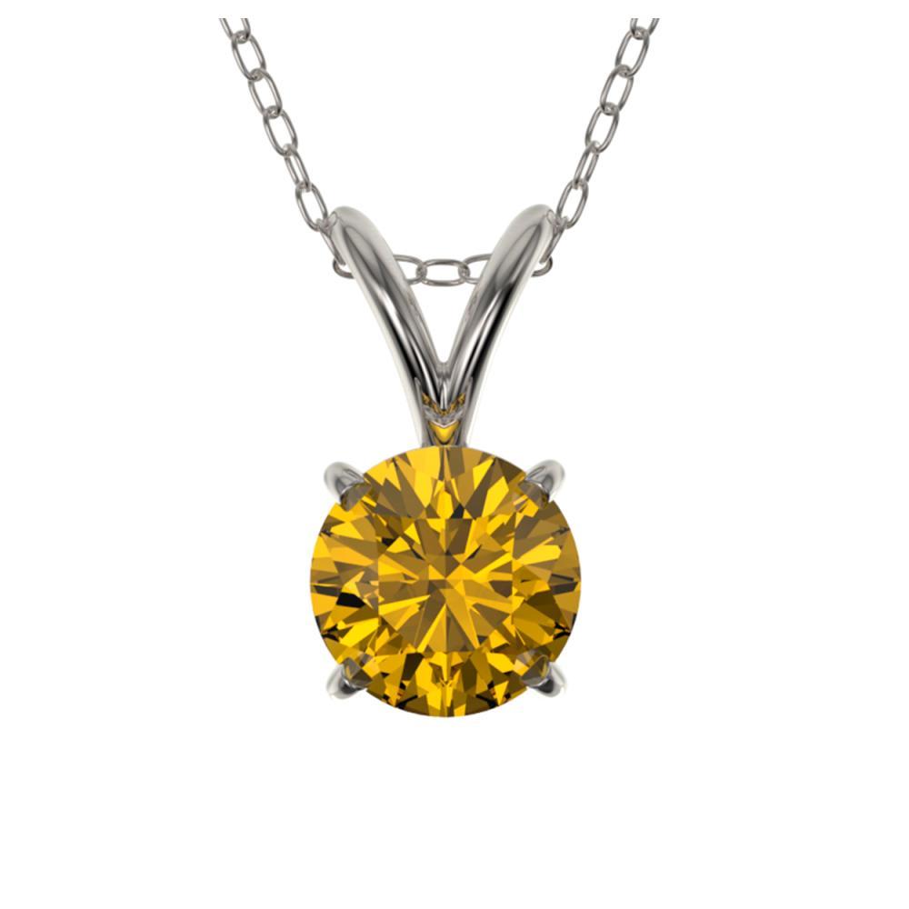 0.50 ctw Intense Yellow Diamond Necklace 10K White Gold - REF-70N5A - SKU:33161