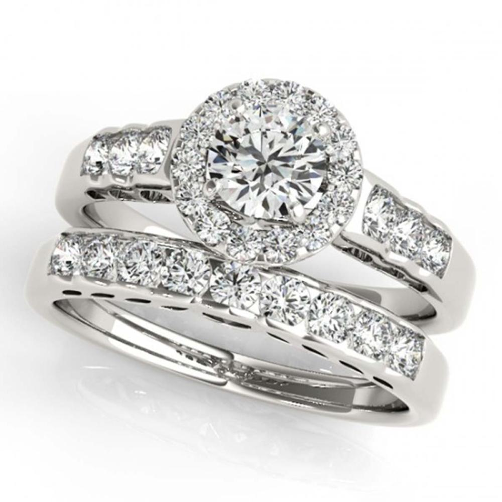 1.71 ctw VS/SI Diamond 2pc Wedding Set Halo 14K White Gold - REF-175R9K - SKU:31256