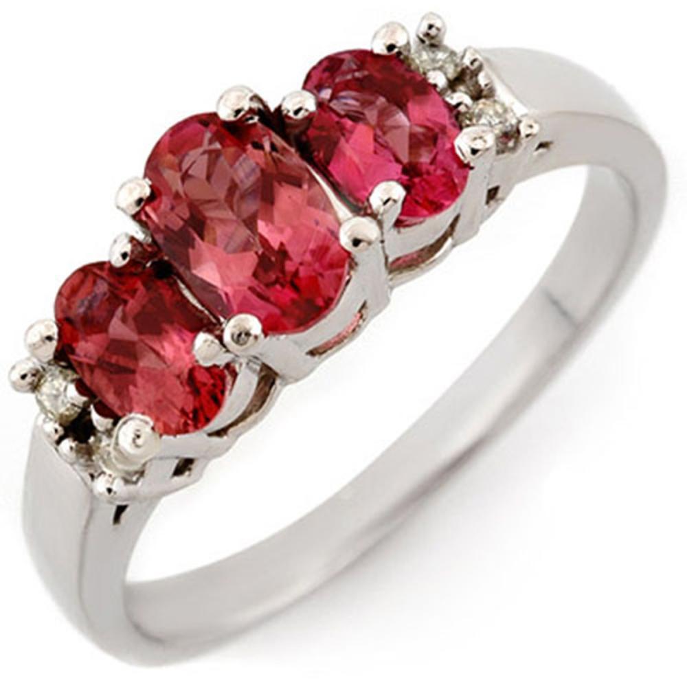0.92 ctw Pink Tourmaline & Diamond Ring 18K White Gold - REF-52X7R - SKU:10925