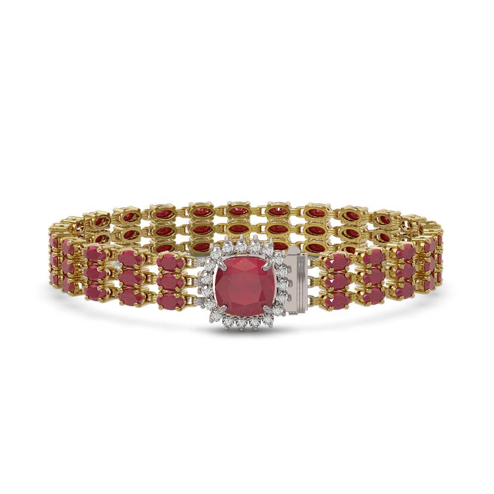 31.91 ctw Ruby & Diamond Bracelet 14K Yellow Gold - REF-307A8V - SKU:45883