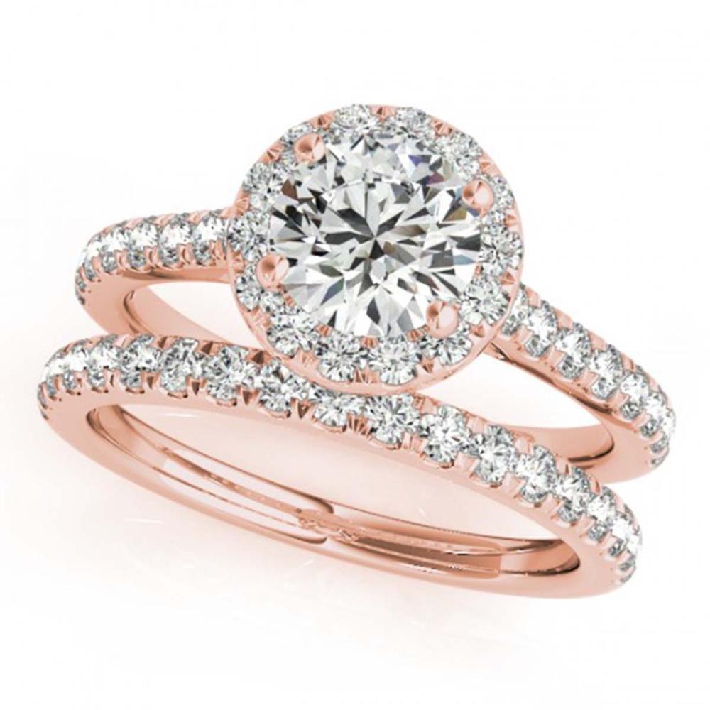1.42 ctw VS/SI Diamond 2pc Wedding Set Halo 14K Rose Gold - REF-159A3V - SKU:30838
