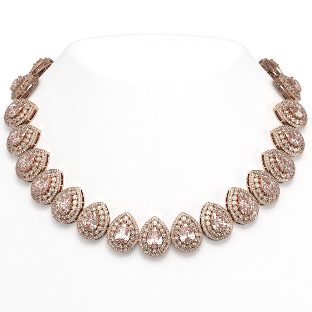103.22 ctw Morganite & Diamond Necklace 14K Rose Gold - REF-4551Y3X - SKU:43251