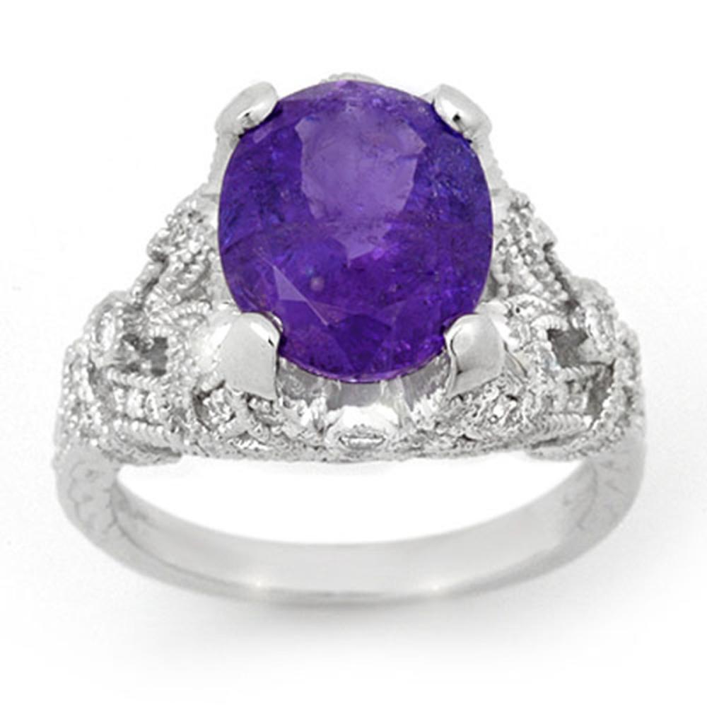 6.10 ctw Tanzanite & Diamond Ring 14K White Gold - REF-238F7N - SKU:14519