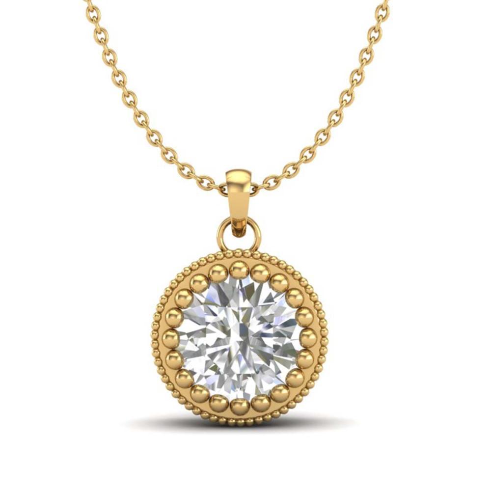 1 ctw VS/SI Diamond Solitaire Art Deco Necklace 18K Yellow Gold - REF-292H5M - SKU:36892